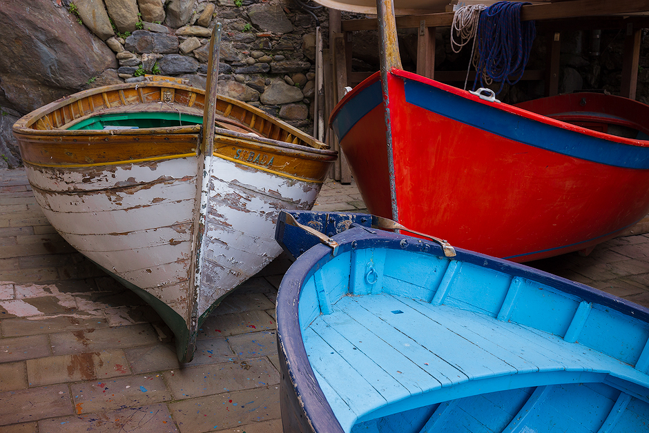 fishing boats, cinque terre, italy