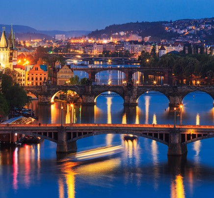bridges, prague,evening,czech republic