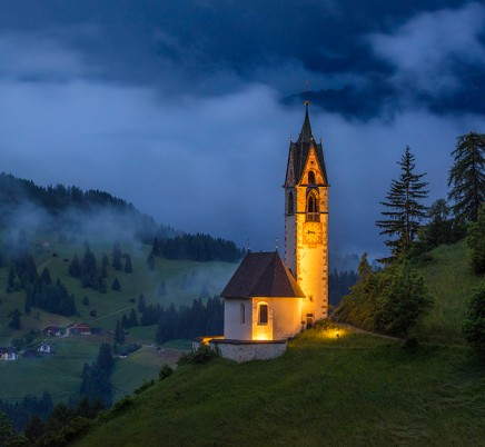 chapel mountains dolomites italy
